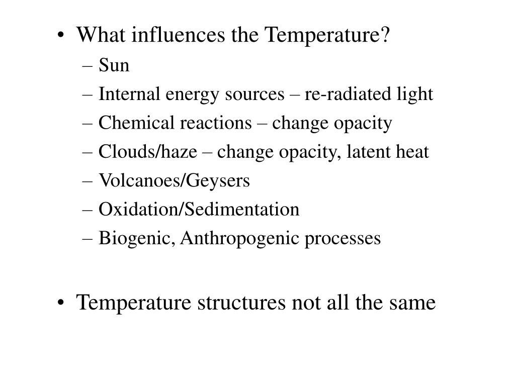 What influences the Temperature?