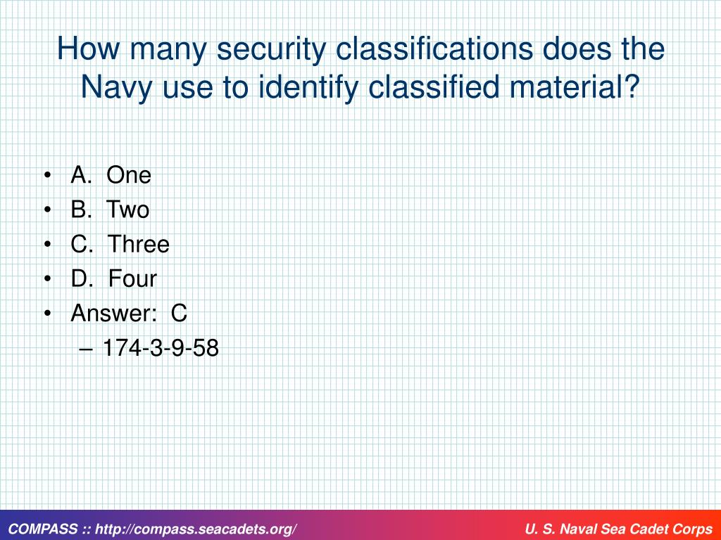How many security classifications does the Navy use to identify classified material?