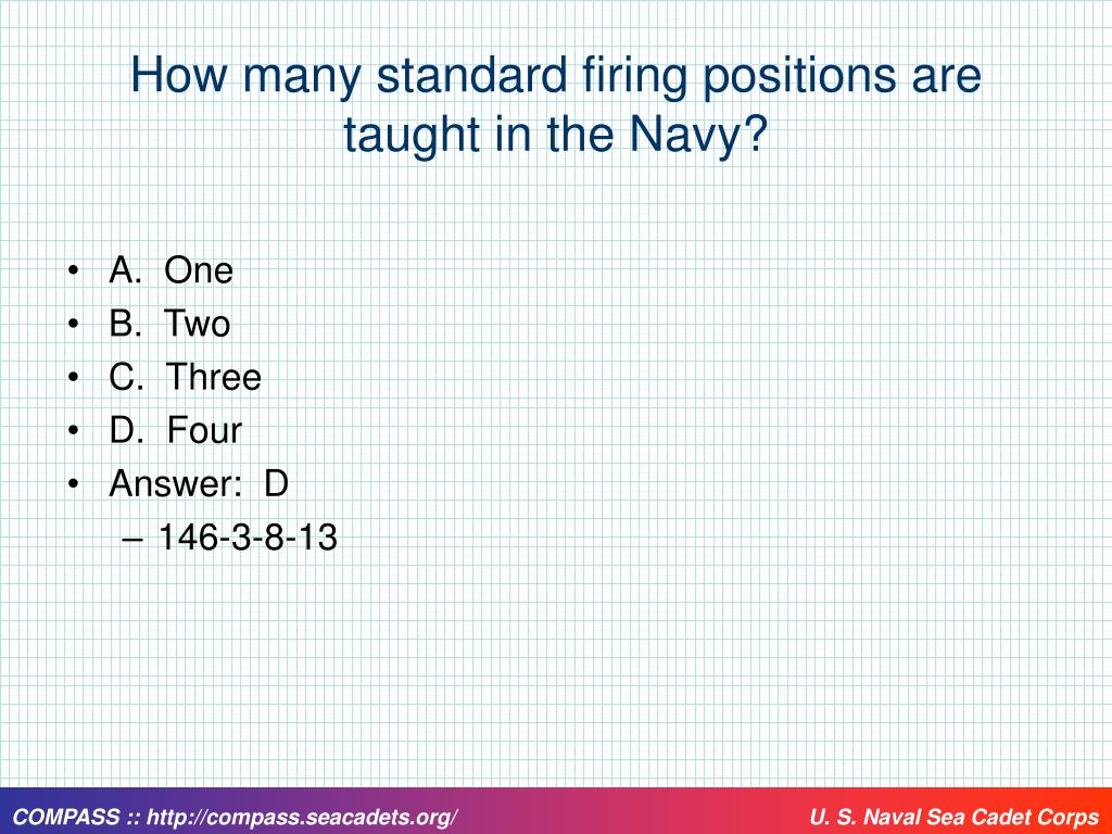 How many standard firing positions are taught in the Navy?