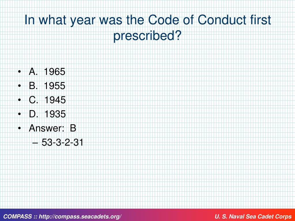 In what year was the Code of Conduct first prescribed?