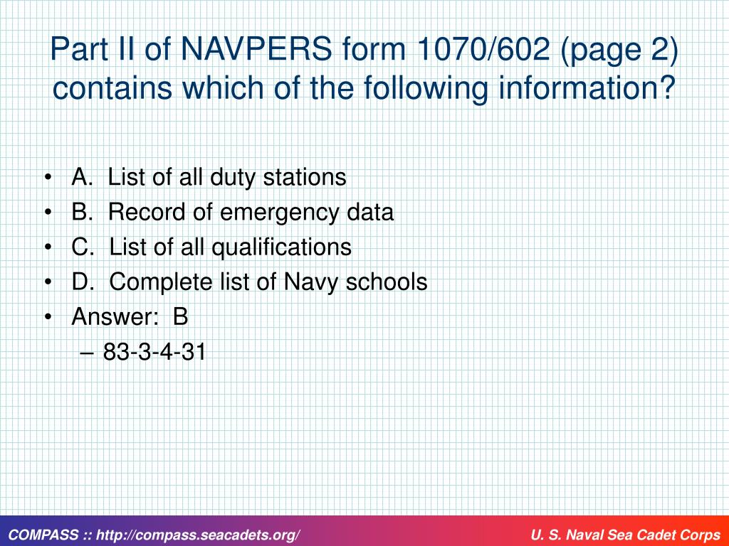 Part II of NAVPERS form 1070/602 (page 2) contains which of the following information?
