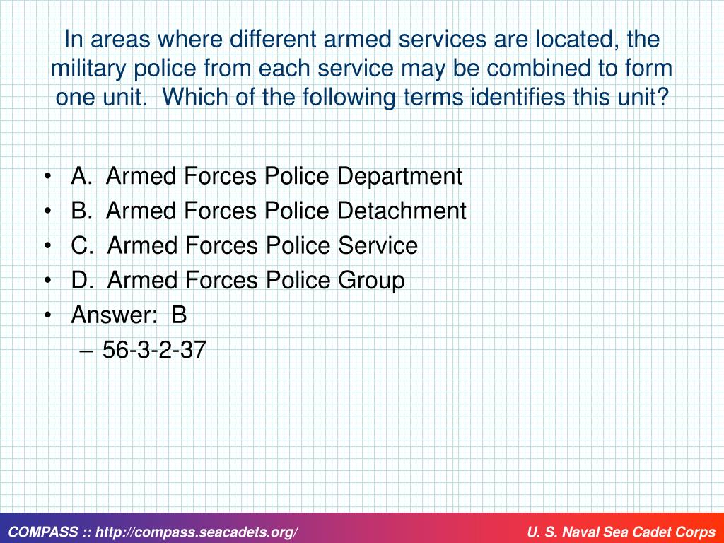 In areas where different armed services are located, the military police from each service may be combined to form one unit.  Which of the following terms identifies this unit?