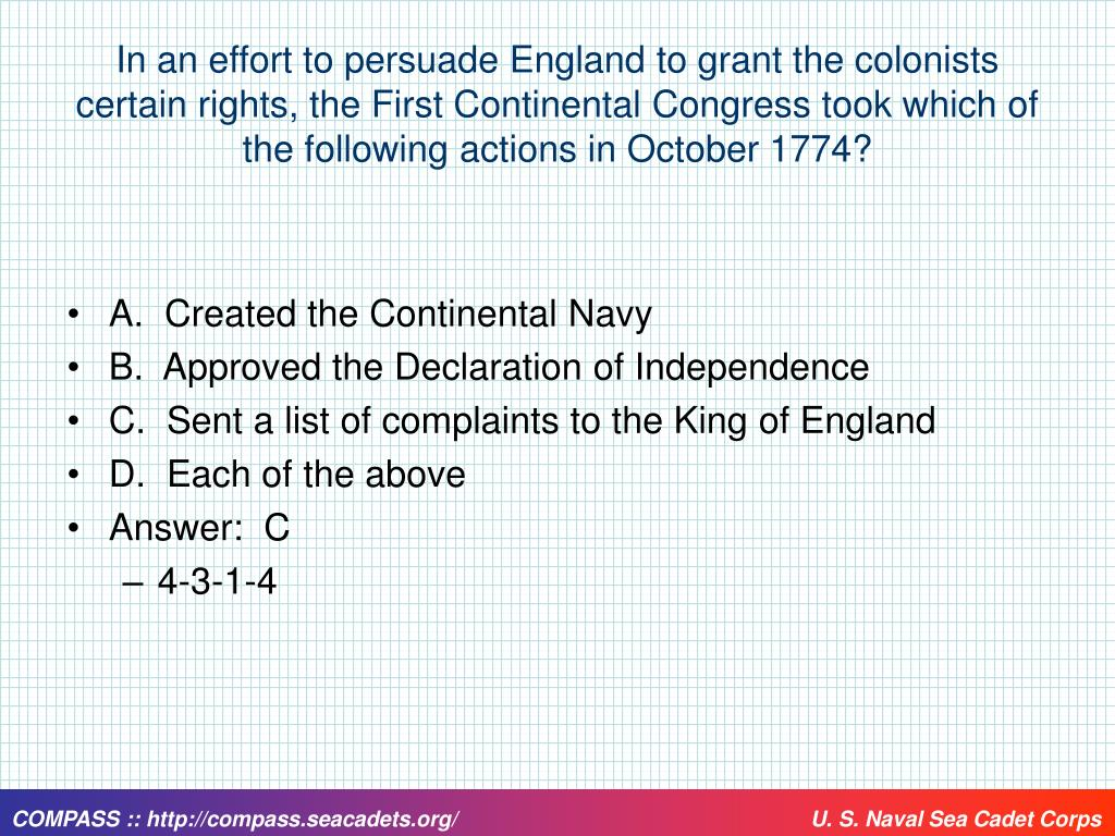 In an effort to persuade England to grant the colonists certain rights, the First Continental Congress took which of the following actions in October 1774?
