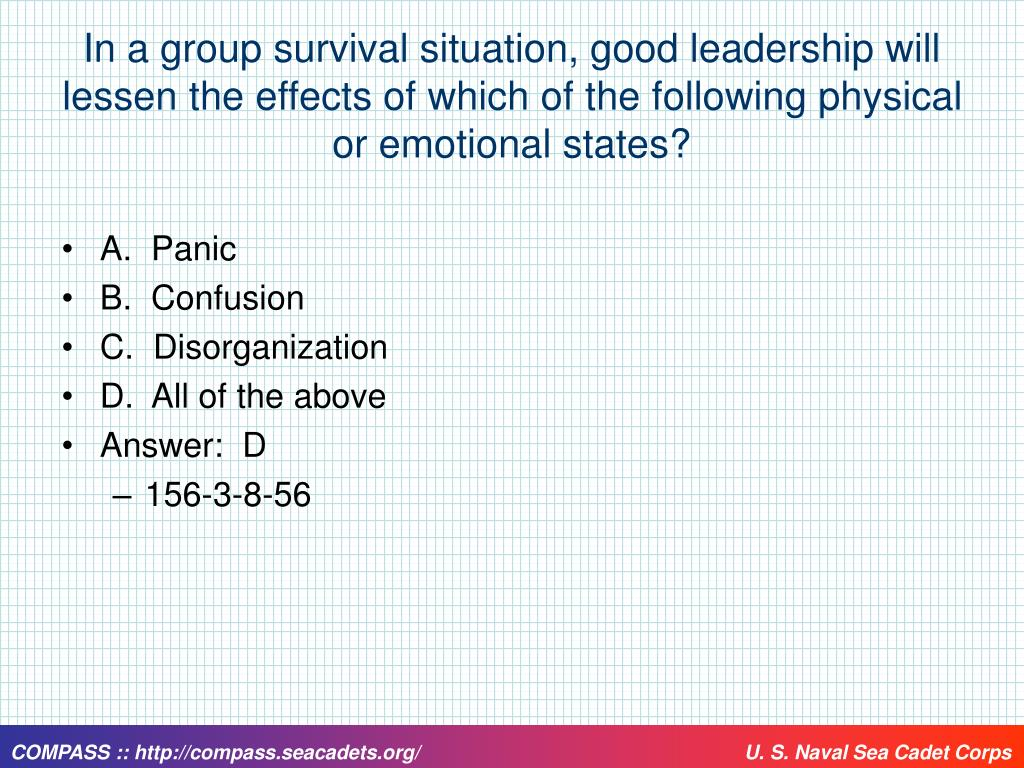 In a group survival situation, good leadership will lessen the effects of which of the following physical or emotional states?