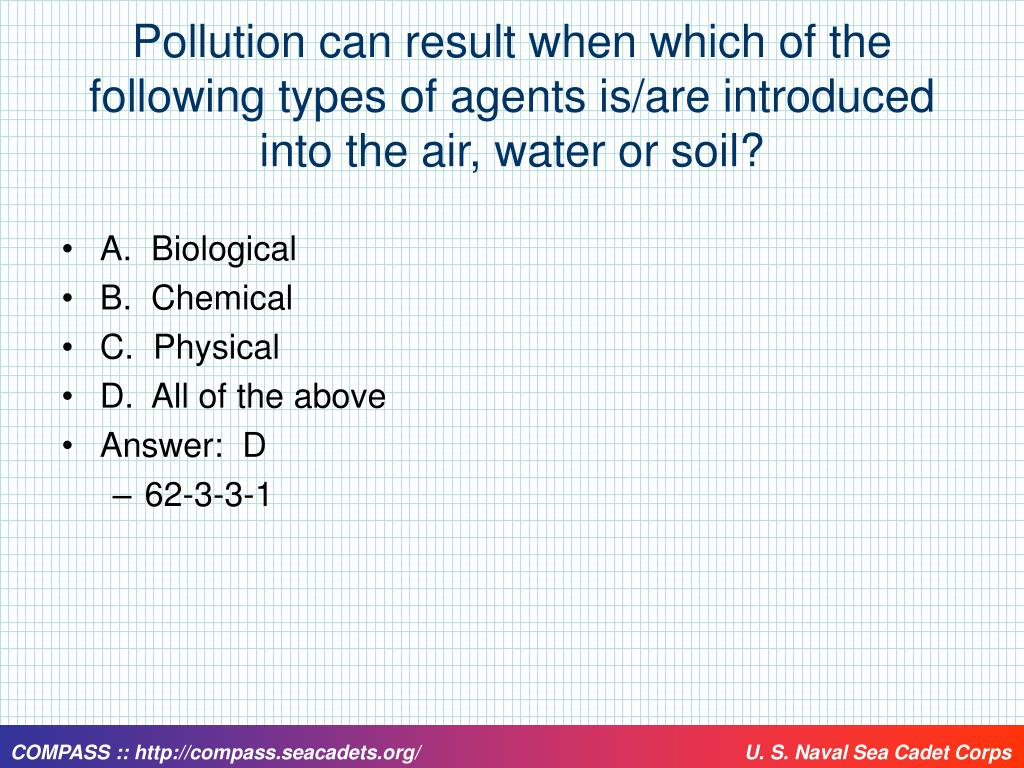 Pollution can result when which of the following types of agents is/are introduced into the air, water or soil?