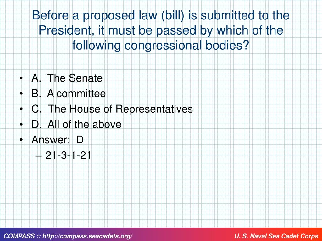 Before a proposed law (bill) is submitted to the President, it must be passed by which of the following congressional bodies?