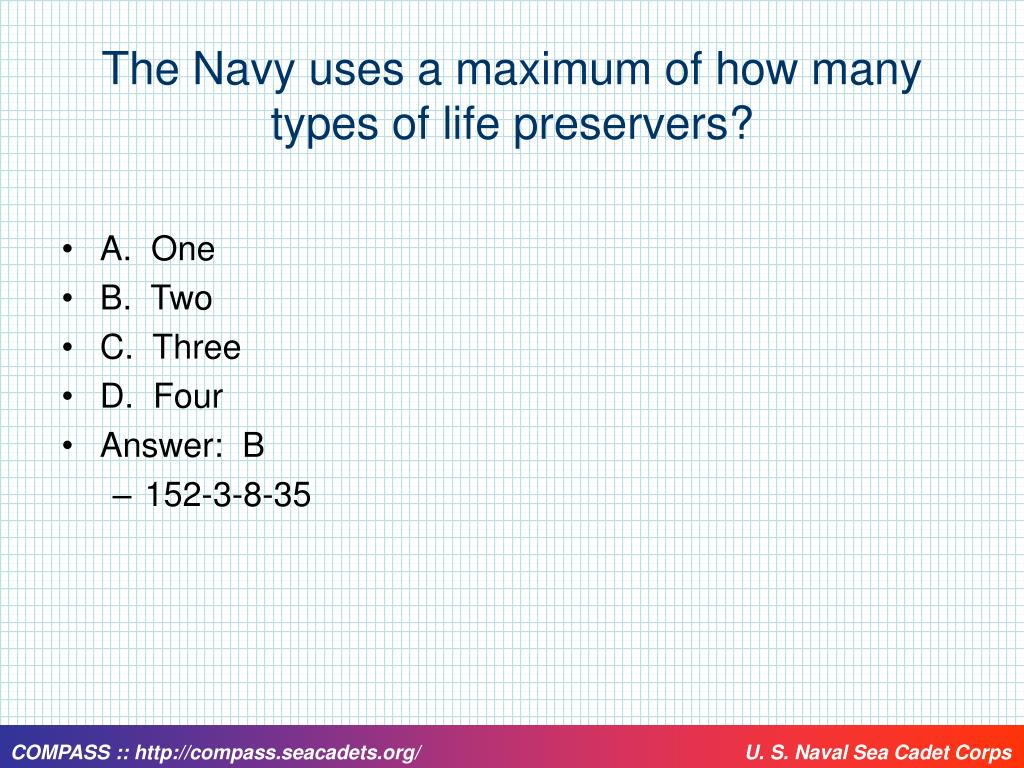The Navy uses a maximum of how many types of life preservers?