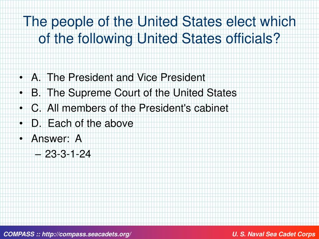 The people of the United States elect which of the following United States officials?
