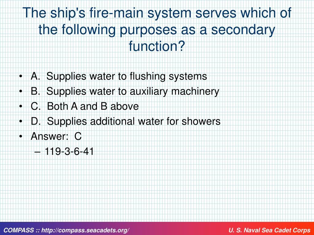 The ship's fire-main system serves which of the following purposes as a secondary function?