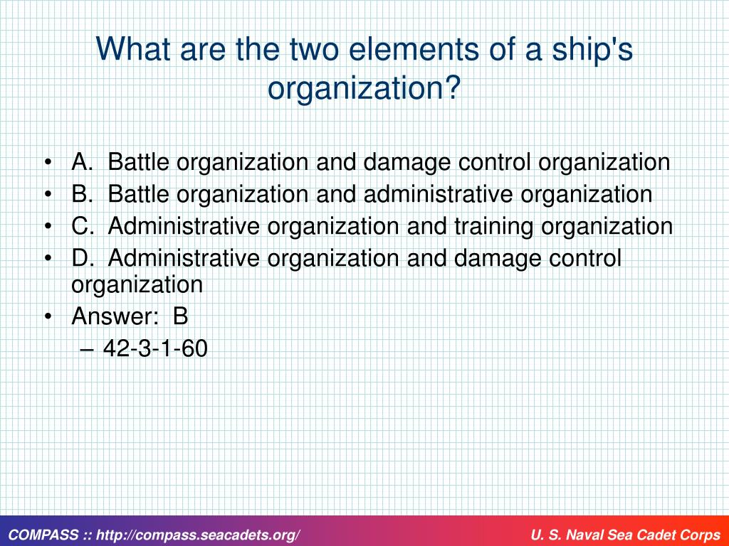 What are the two elements of a ship's organization?
