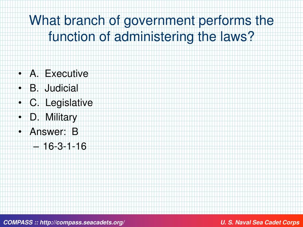 What branch of government performs the function of administering the laws?