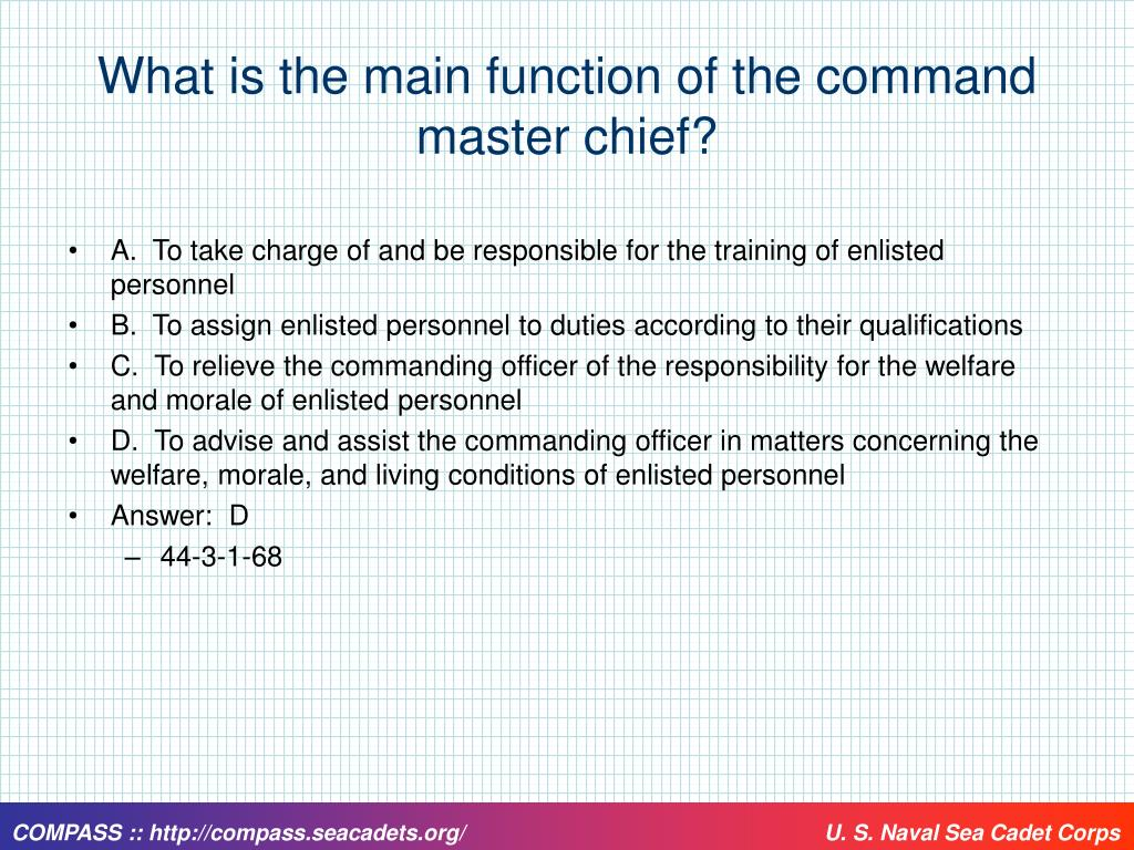 What is the main function of the command master chief?