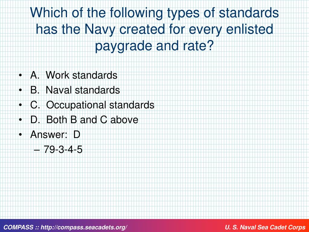 Which of the following types of standards has the Navy created for every enlisted paygrade and rate?