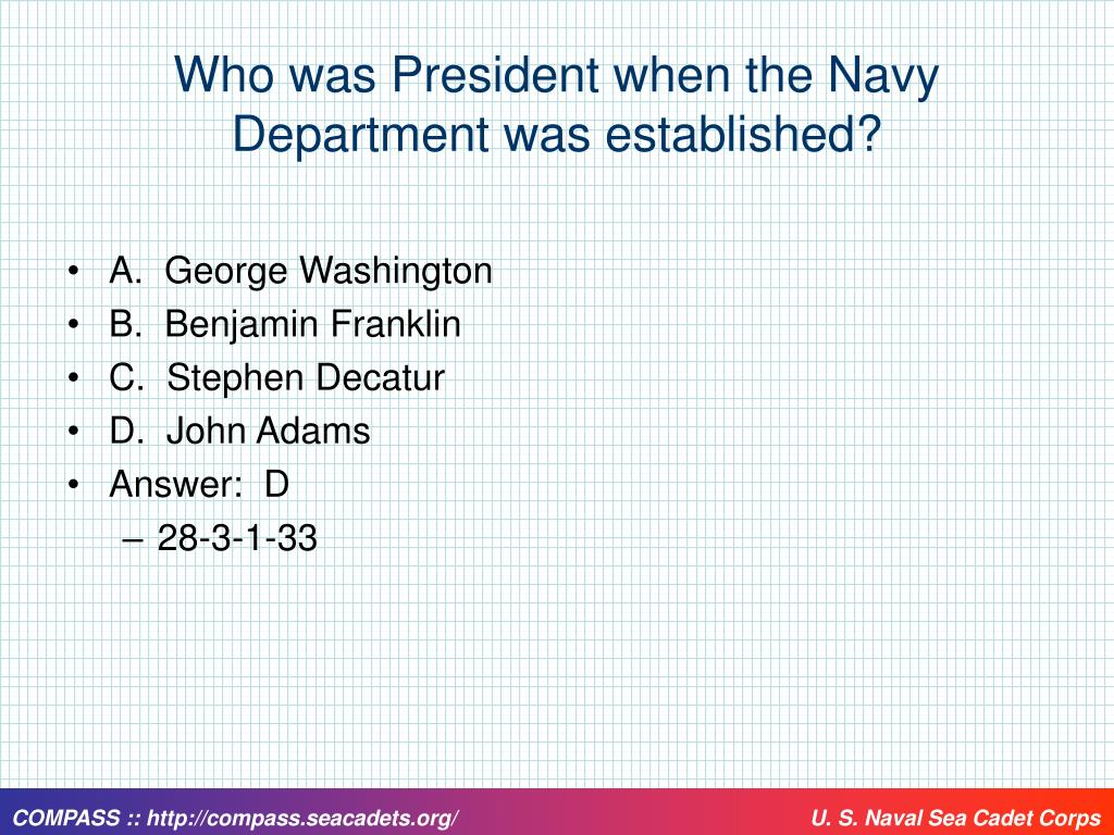 Who was President when the Navy Department was established?