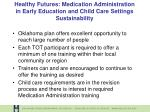 healthy futures medication administration in early education and child care settings sustainability