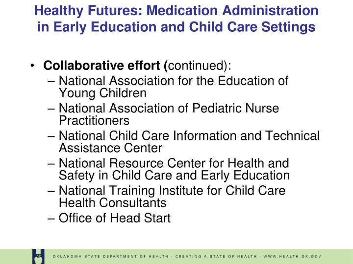 Healthy futures medication administration in early education and child care settings3