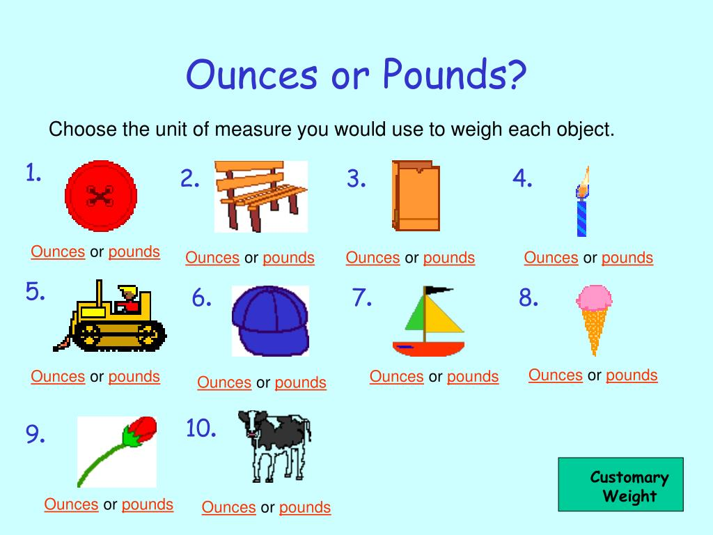 Ounces or Pounds?