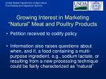 growing interest in marketing natural meat and poultry products11