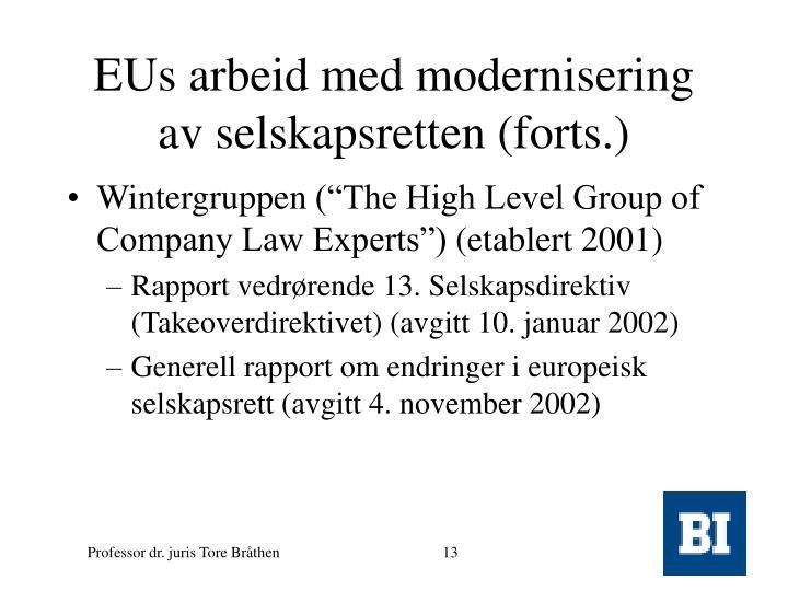 EUs arbeid med modernisering av selskapsretten (forts.)