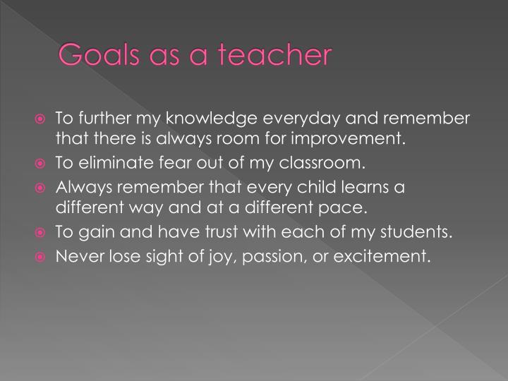 Goals as a teacher