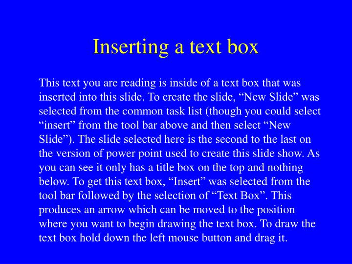Inserting a text box