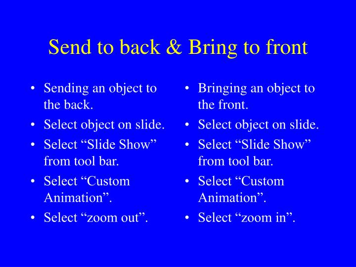 Sending an object to the back.