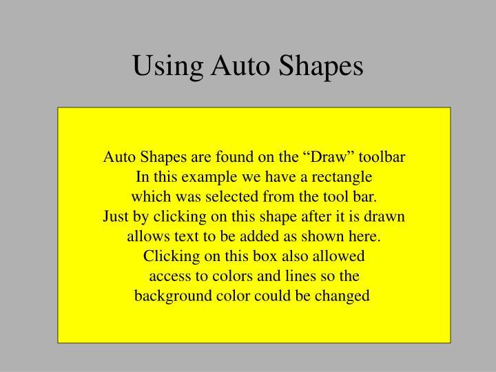 Using Auto Shapes