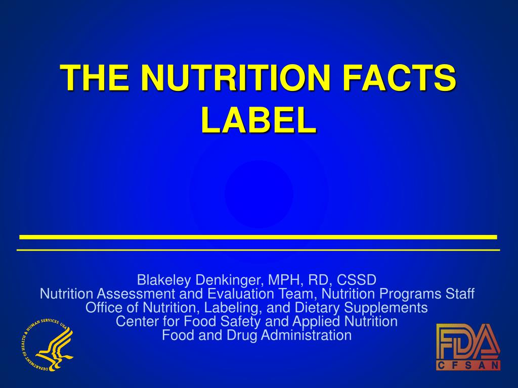 THE NUTRITION FACTS