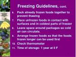 freezing guidelines cont