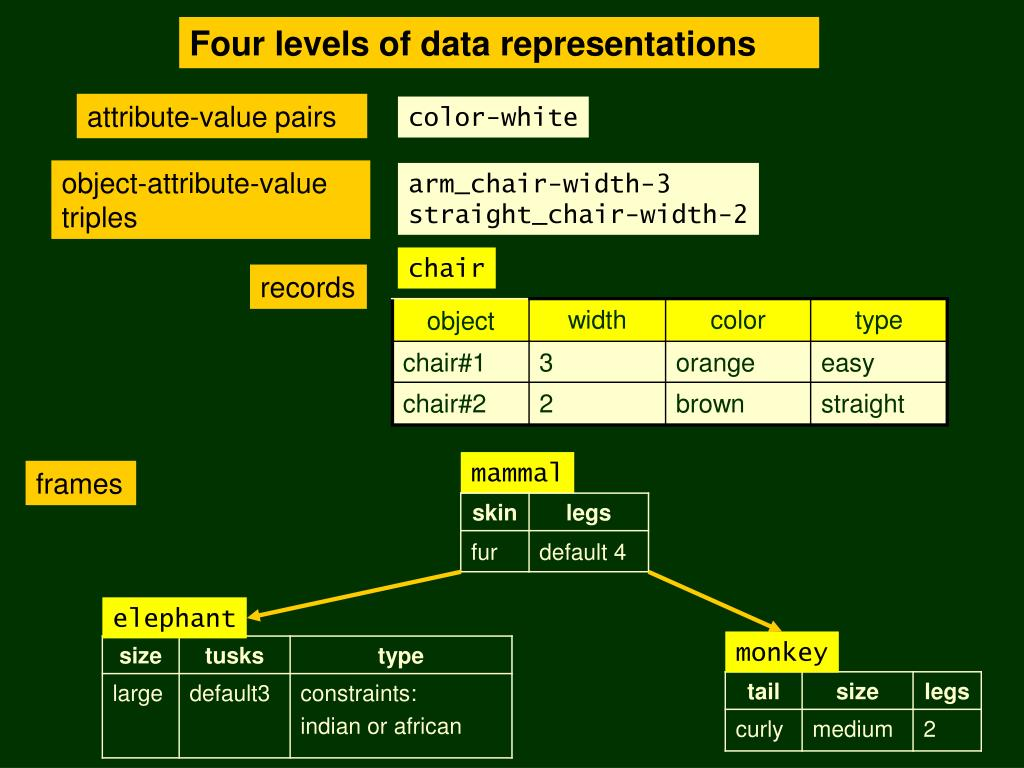 Four levels of data representations