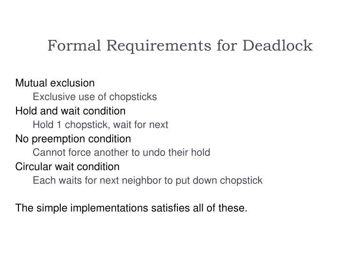 Formal Requirements for Deadlock