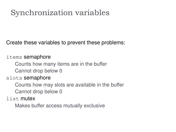 Synchronization variables