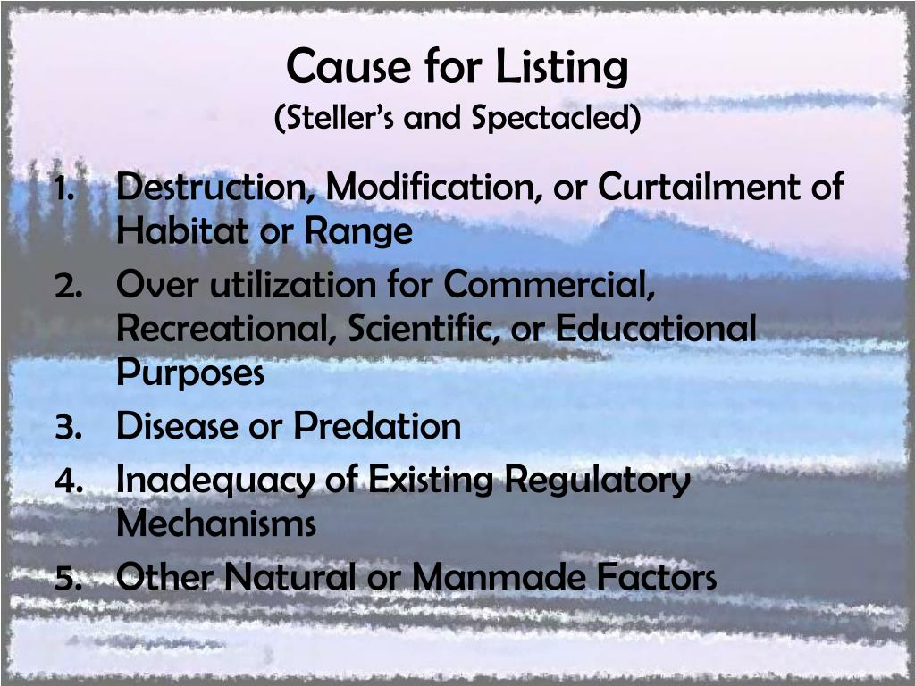 Cause for Listing