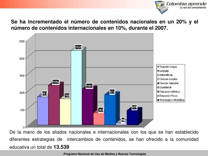 Se ha incrementado el número de contenidos nacionales en un 20% y el número de contenidos internacionales en 10%, durante el 2007.