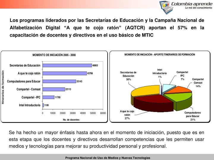 """Los programas liderados por las Secretarías de Educación y la Campaña Nacional de Alfabetización Digital """"A que te cojo ratón"""" (AQTCR) aportan el 57% en la capacitación de docentes y directivos en el uso básico de MTIC"""