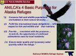anilca s 4 basic purposes for alaska refuges