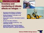 inventory and monitoring of climate effects on refuges