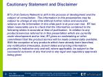 cautionary statement and disclaimer