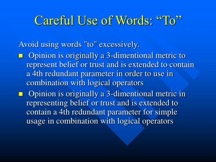 """Careful Use of Words: """"To"""""""