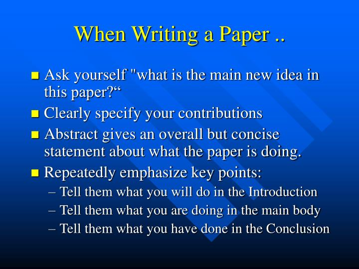 When writing a paper