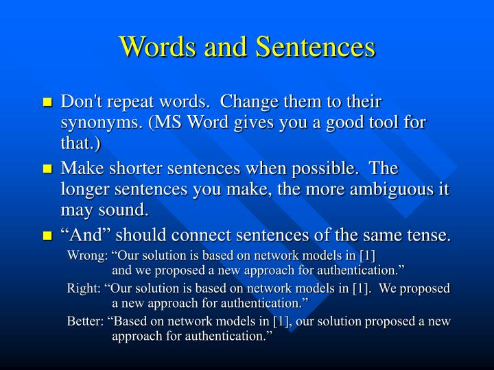 Words and Sentences
