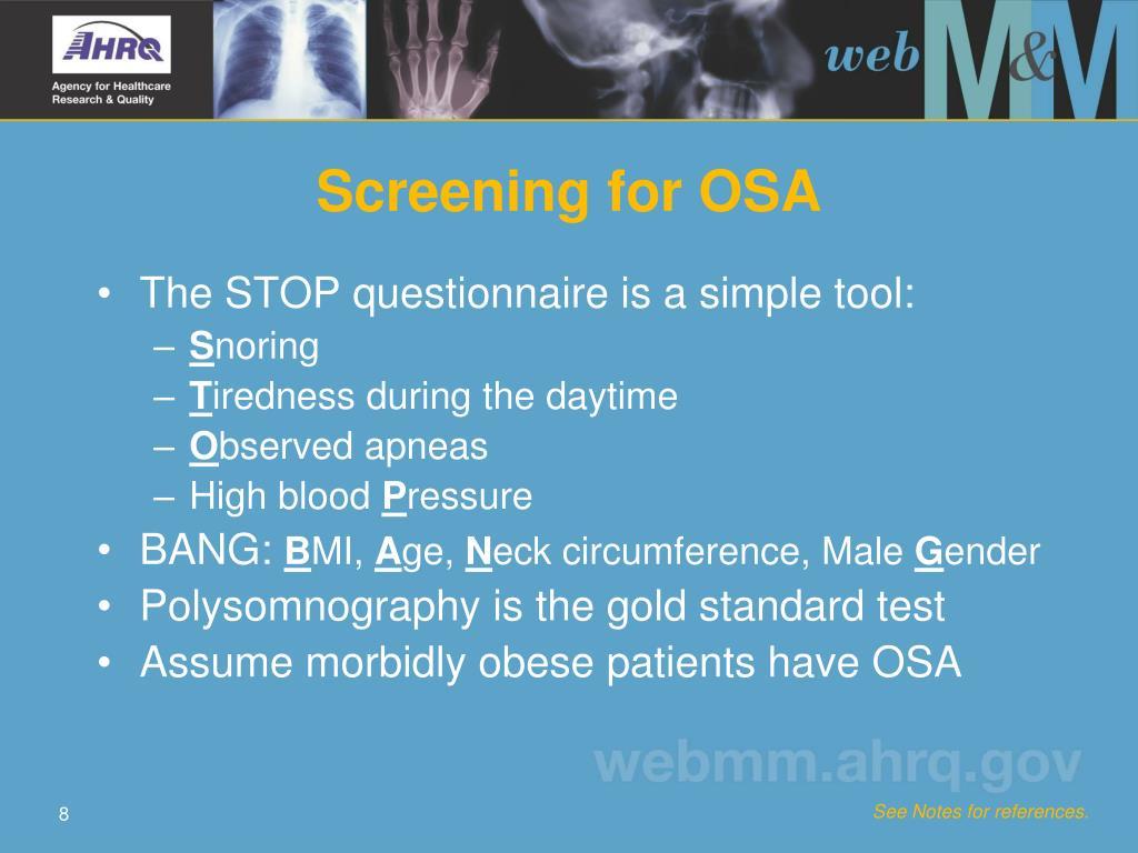Screening for OSA
