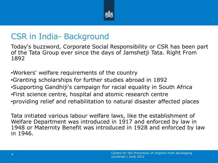 CSR in India- Background