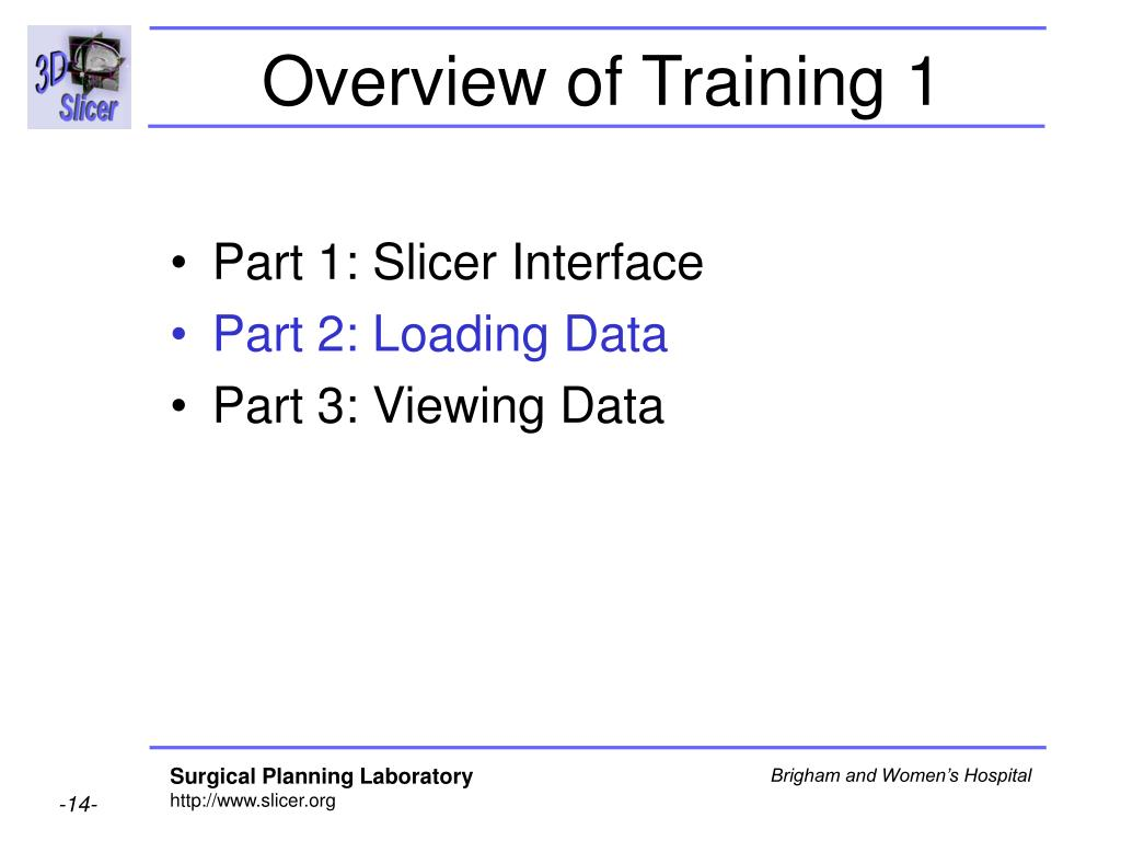 Overview of Training 1