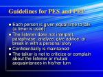 guidelines for pes and pep