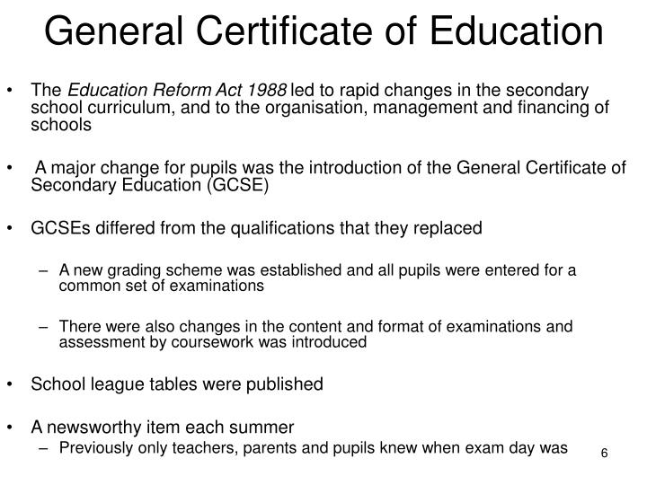 General Certificate of Education