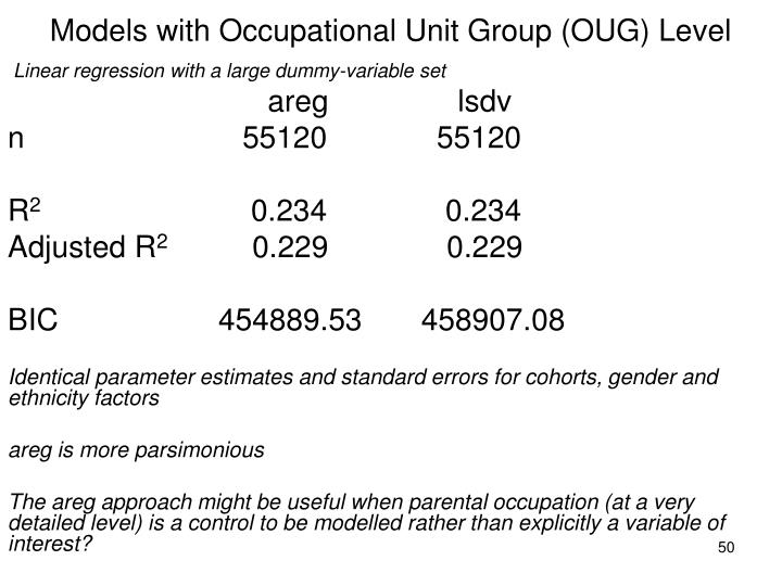 Models with Occupational Unit Group (OUG) Level