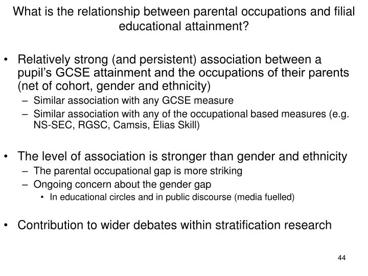 What is the relationship between parental occupations and filial educational attainment?