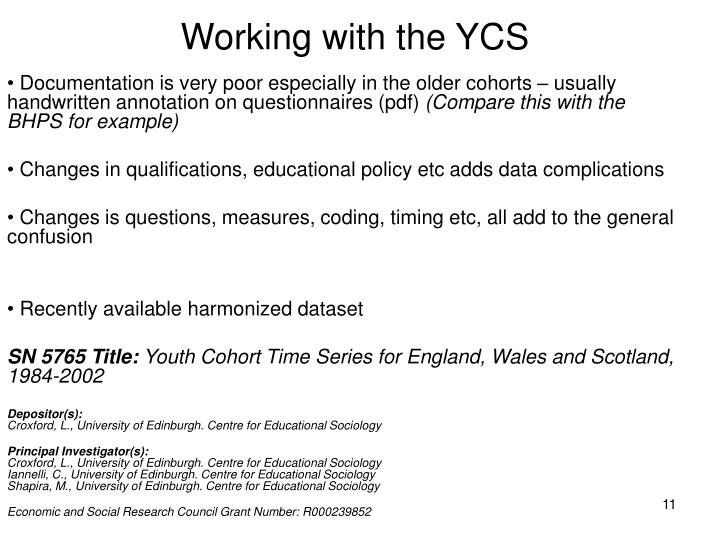 Working with the YCS