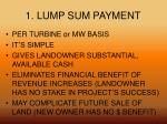 1 lump sum payment
